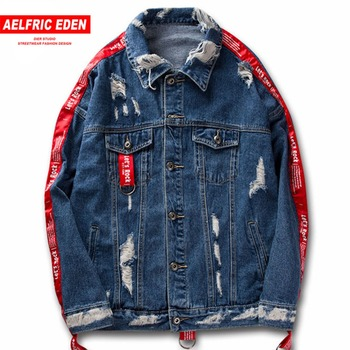 Aelfric Eden Couple Clothes Jean Jacket 2017 Men Hi-street Ribbons Sleeve Ripped Hole Hip Hop Jacket Fashion Jackets Coats KT22