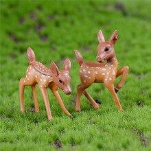 2pcs/Set Artificial Mini Sika Deer Fairy Garden Miniatures Gnomes Moss Terrariums Resin Crafts Figurines For Home Decoration
