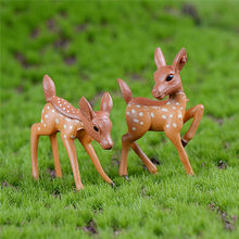 2pcs/Set Artificial Mini Sika Deer Fairy Garden Miniatures Gnomes Moss Terrariums Resin Crafts Figurines For Home Decoration(China)