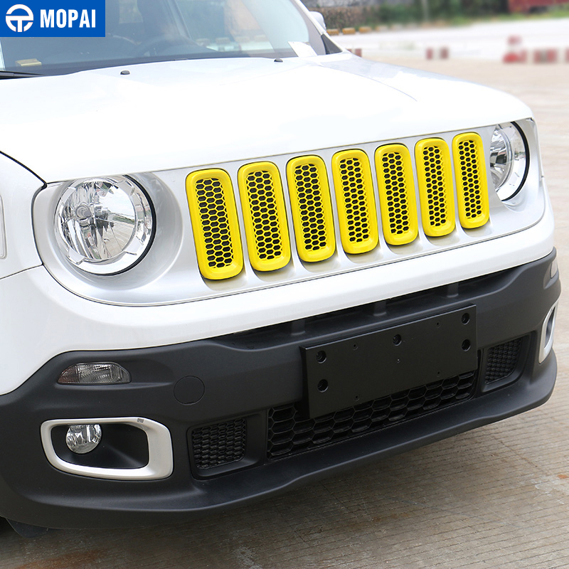 Image 3 - MOPAI ABS Car Exterior Front Insert Grille Cover Decoration With Net Stickers For Jeep Renegade 2015 2017 Car Styling-in Styling Mouldings from Automobiles & Motorcycles