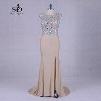Длинные платья с кристаллами шампанского вечернее платье блестящие вечерние платья русалки с разрезом сбоку платья для матери невесты