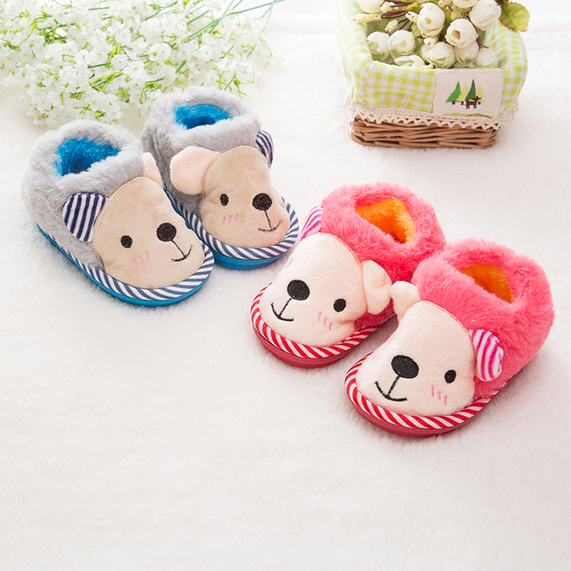 Baby Cotton-Padded Slippers Shoes Kids Girls Autumn/ Winter Slippers Child Indoor Velvet Shoes Plush Slippers  1 - 3 Years