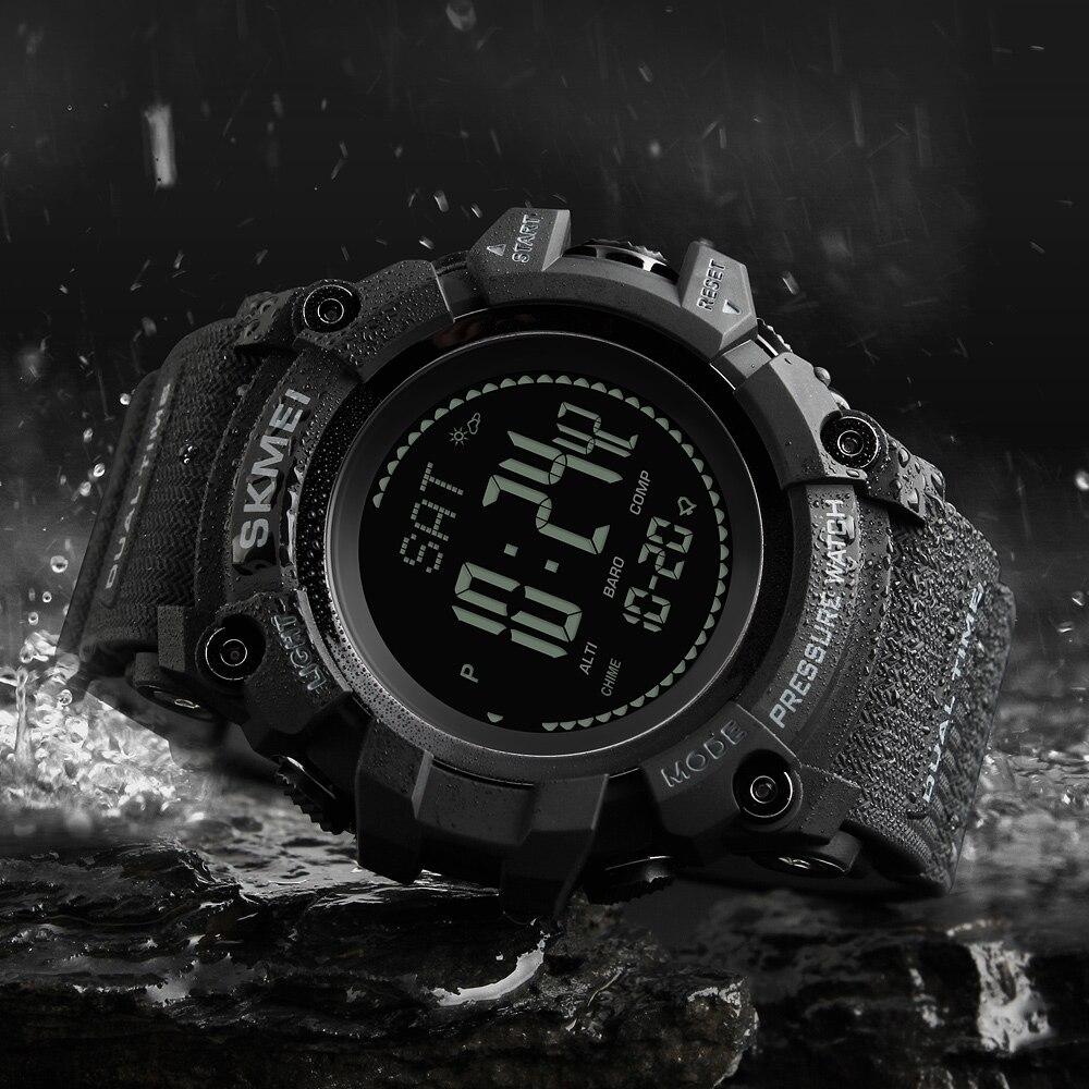 SKMEI zegarki sportowe męskie marki godzin krokomierz kalorii zegarek cyfrowy barometr wysokościomierz kompas termometr pogoda mężczyzn zegarek w Zegarki cyfrowe od Zegarki na  Grupa 3