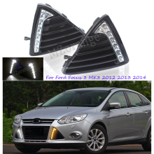 LED Daytime Running Light For Ford Focus 3 MK3 2012 2013 2014 DRL Car-styling Daylight With Yellow Turning Signal Light Fog Lamp gloss style e4 12v led car drl daytime running lights fog lamp with turn off and dimming relay for ford focus 3 2012 2013 2014