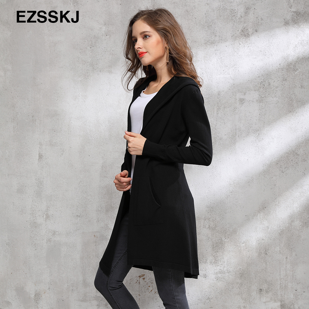 Autumn winter long black hooded jacket coat sweater Cardigan women Outwear long sleeve knitted trench female coat femme