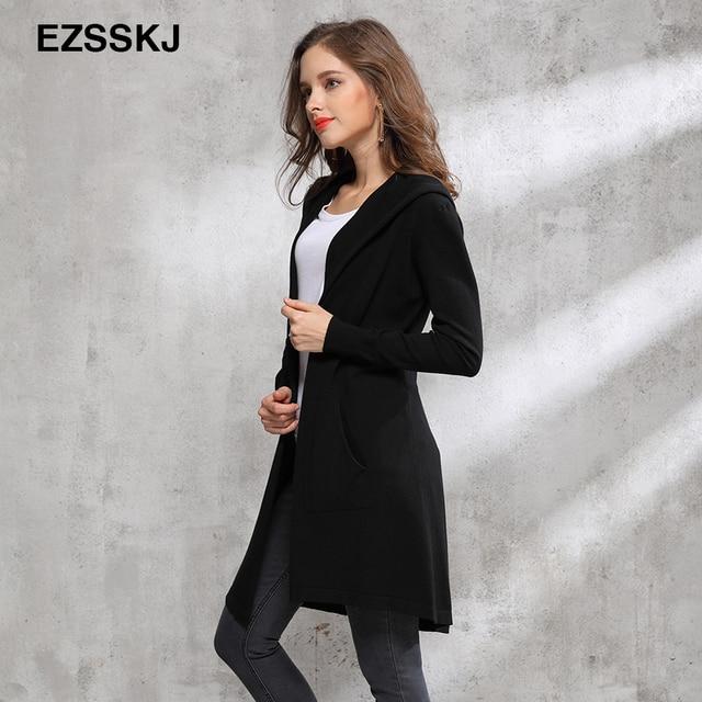 2018 otoño invierno largo negro con capucha chaqueta abrigo suéter Cardigan  mujeres Outwear manga larga punto 901dba2b7dfc
