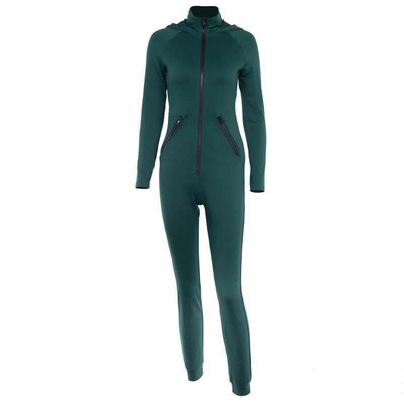 Облегающие комбинезоны с длинным рукавом Повседневный обтягивающий костюм армейский зеленый комбинезон женский комбинезон однотонный осень зима спортивные комбинезоны