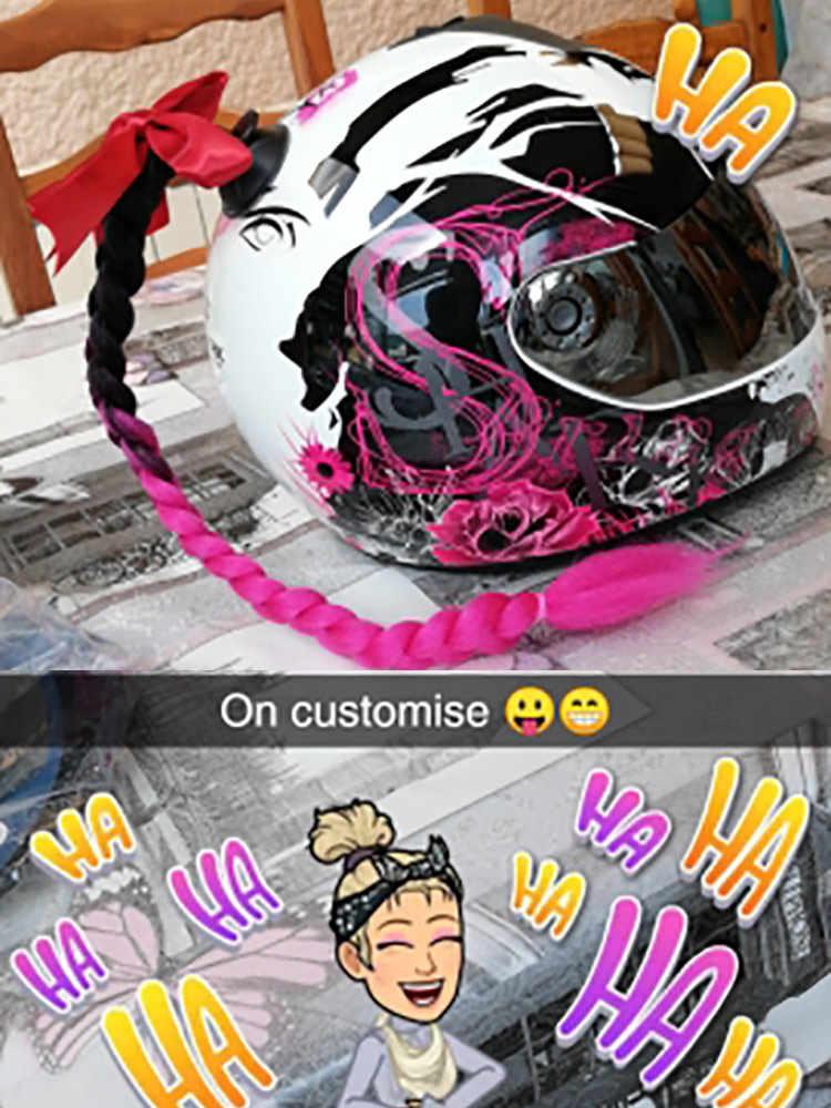 2019 Baru Sepeda Motor Helm Kepang Wanita Kepang Wig untuk Sepeda Motor Helm 17 Warna Twist Dual Pigtail Ekor Kuda dengan Sucker Busur