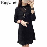 TAJIYANE New Arrivel Women Dress Spring Winter Fashion Long Sleeve Dresses Black Womens Clothing Sexy Dress Top Quality NewLD214