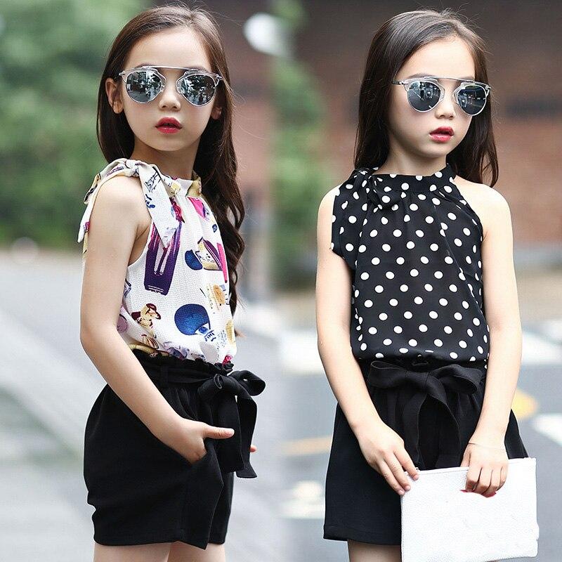 Girls Clothing Sets Chiffon Polka Dot Vests Shorts 2 Pcs Summer Cartoon T Shirts For Girls