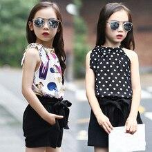 Filles Vêtements Définit Mousseline de Soie Polka Dot Vestes et Shorts 2 Pcs D'été de Bande Dessinée T-Shirts Pour Filles Enfants Tenues 4 5 6 7 9 11 12 Ans