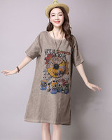 2016 Summer Women Fashion Cotton Linen Vintage Dress Casual Loose O Neck Comfortable Style Clothing Casual
