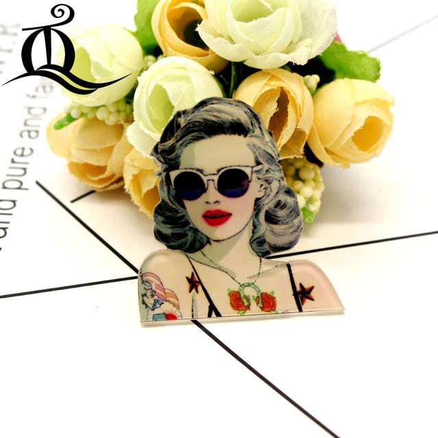 free shipping 1 PCS Painting cartoon woman Badges for Clothing Acrylic Badges Kawaii Icons on The Backpack Pin Brooch Badge 28