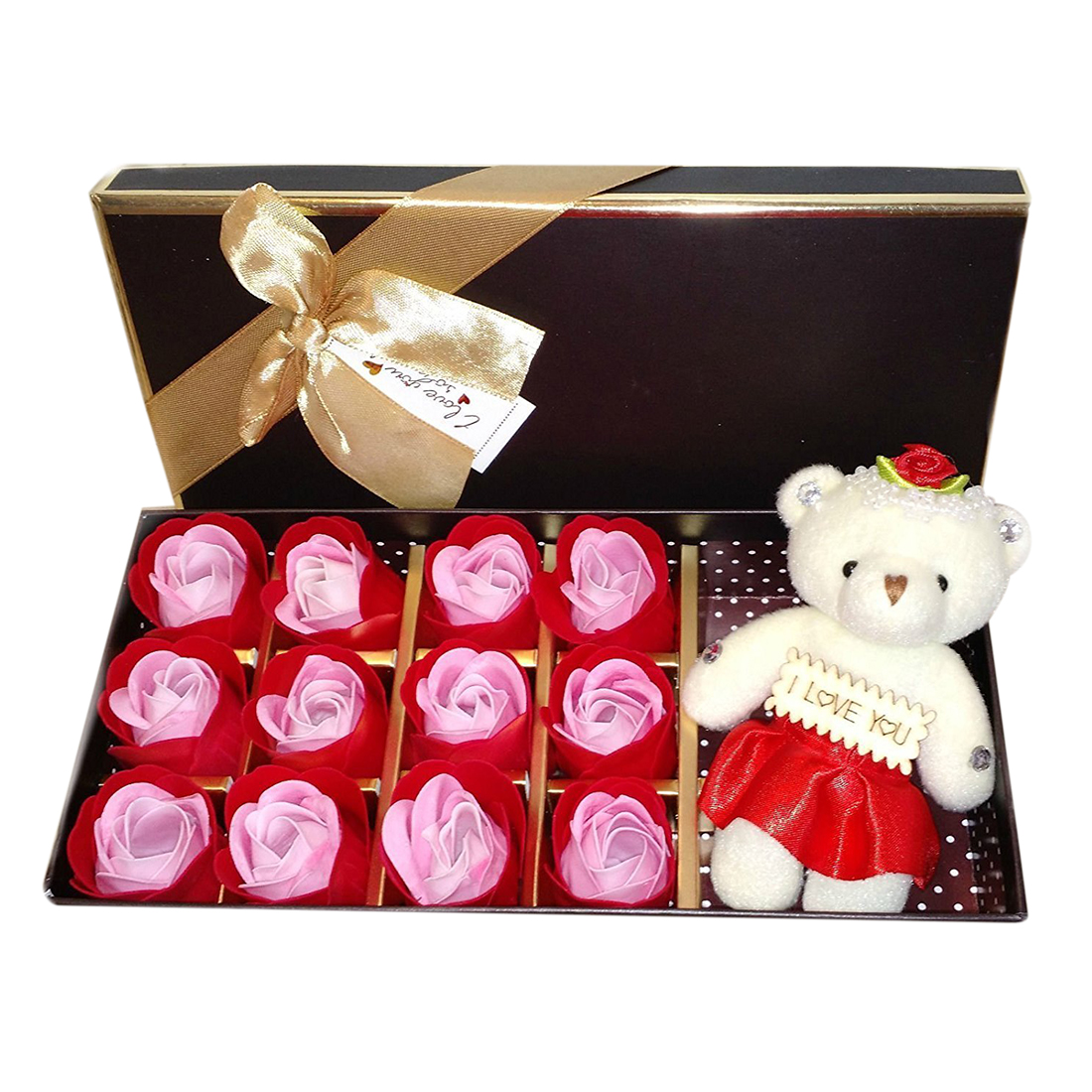 Reasonable 1 Box Rose Flower Soap Gift Box For Bath Perfect Valentines Day Gift With A Bear For Mother Convenience Goods red Wife Or Girlfriend