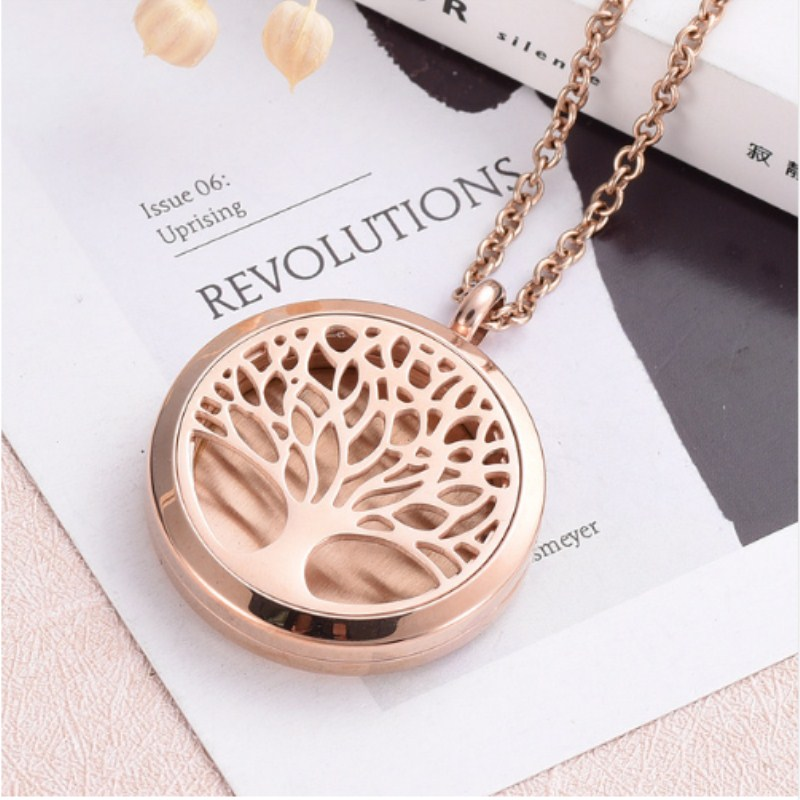 5pcs Tree of Life Perfume Pendant Memorial Air Freshener Stainless steel Rose Gold Aromathrapy Fragrant Essential Oil Diffuser car outlet perfume air freshener with thermometer lime