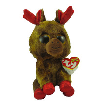 "New TY Toys Beanie Boos 6"" Maple Moose Canada Plush Stuffed Animal Big Eyes Doll Toy Babies Birthday Gifts(China)"