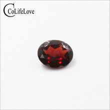 7mm * 9mm 2ct Real Natural Garnet Gemstone for Silver Jewelry Oval Cut Garnet Loose Stone Wholesale Price Beads(China)