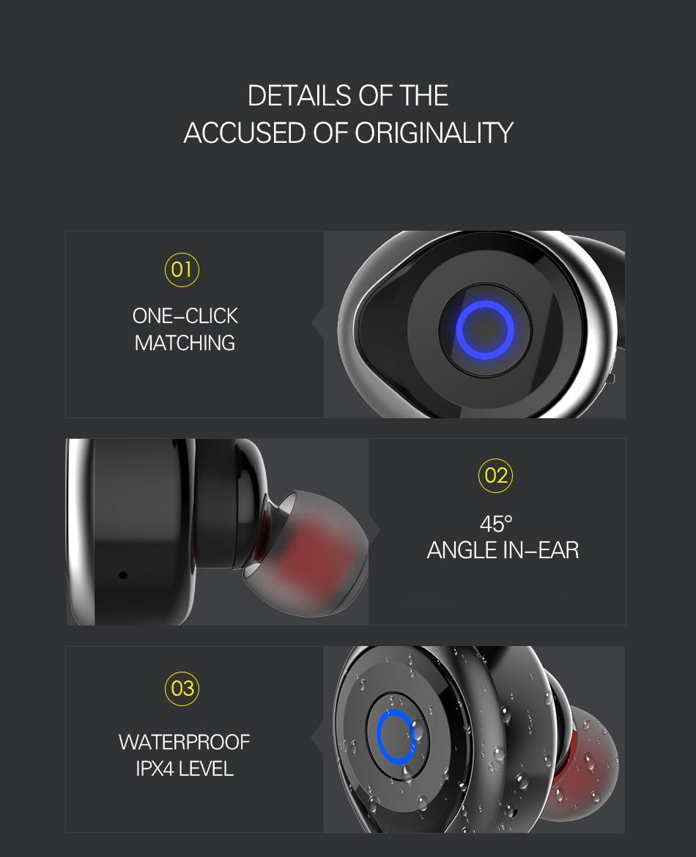 2017 Awei T1 bluetooth earphone true wireless Stereo headset support TWS, smart noise reduction, waterproof, IOS power display