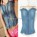 Summer Style 2016 Women Sexy Corset Denim Bustier Fit Zipper Ruffles Backless Jeans Top Tube Top Club Corset Roupas Fitness 2027