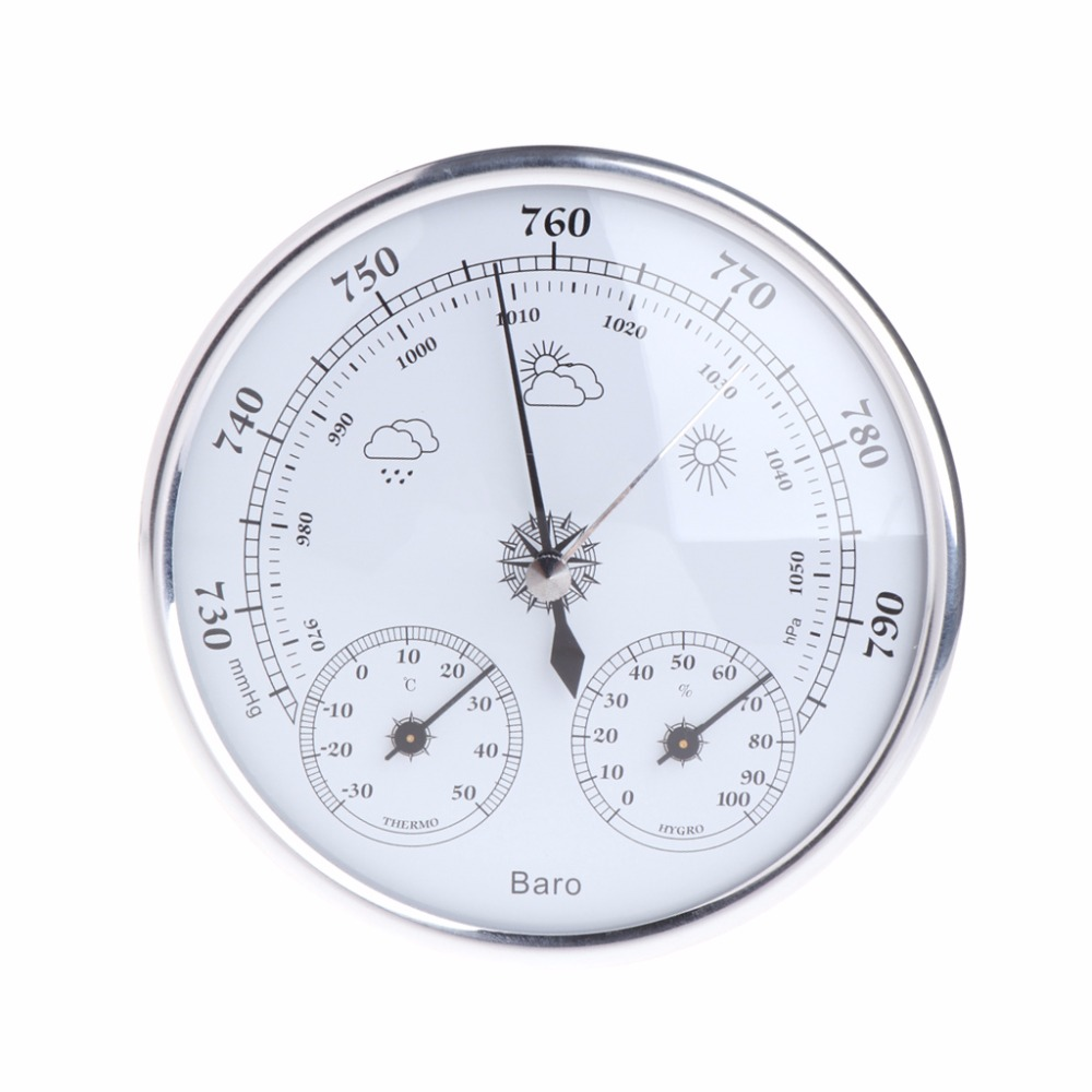 OOTDTY 3 in 1 Multifunction Weather Station Barometer Thermometer Hygrometer Atmospheric Pressure Wall Hanging Household