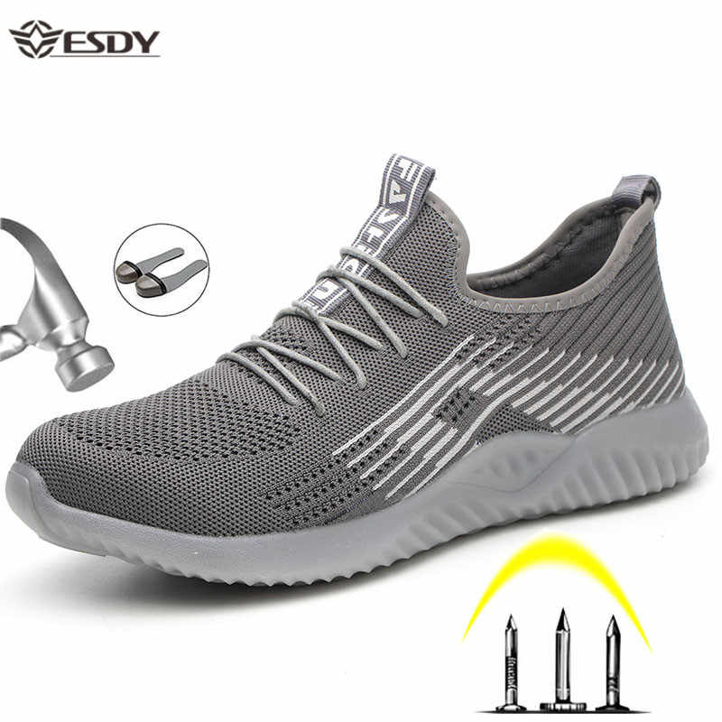 Men's Safety Work Shoes Steel Toe Cap Boots Lightweight Non-slip Puncture-Proof Construction Work Sneakers Breathable Shoes Male