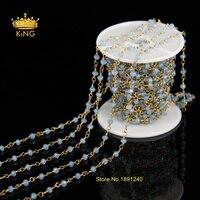 Toda la venta! aqua blue sea maylasian jade facetado cadenas de latón de bronce plateado collar de cadena moldeada rosario mly012