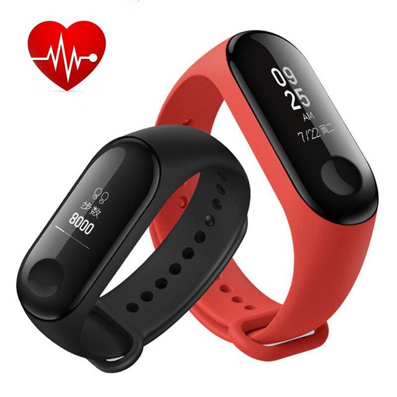 Светодио дный дисплей Smart Watch Band 3 с пульсометром измерения артериального давления спортивный браслет семья сна здоровье инструменты