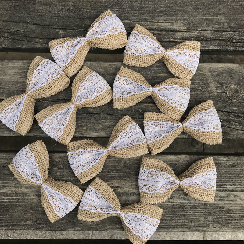 10pcs/Pack Vintage Natural Jute DIY Bow Knot Ribbon Burlap Hessian Wedding Party Decortation Burlap Scrapbooking Lace Craft