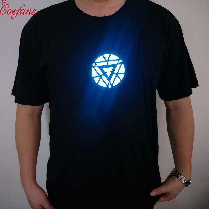 New Avengers Endgame Anime Shirt Men Iron Man Summer Tony Stark Marvel Tshirt Tops Streetwear T Shirt Homme Clothing LED T-shirt