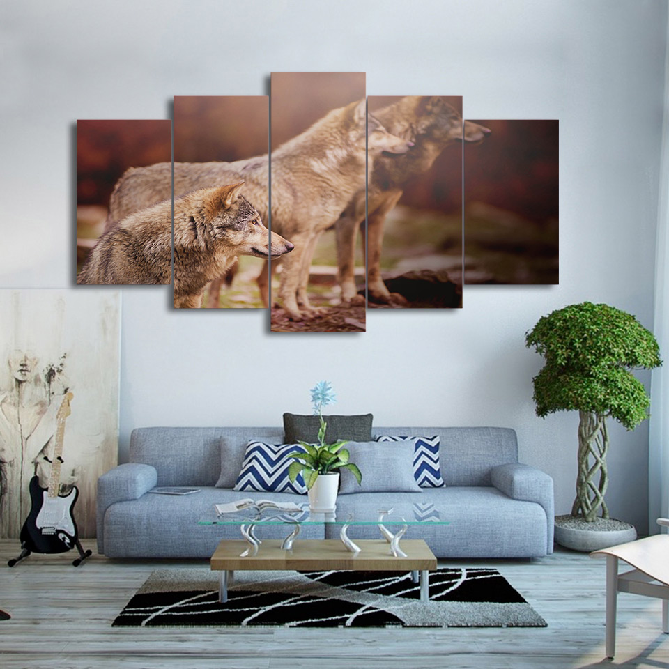 Large Poster HD Printed Painting Canvas Print Art Home Decor 5 Panel Animal  Wolves Wall ArtCompare Prices on Large Wolf Pictures  Online Shopping Buy Low  . Cost To Paint A Large Living Room. Home Design Ideas