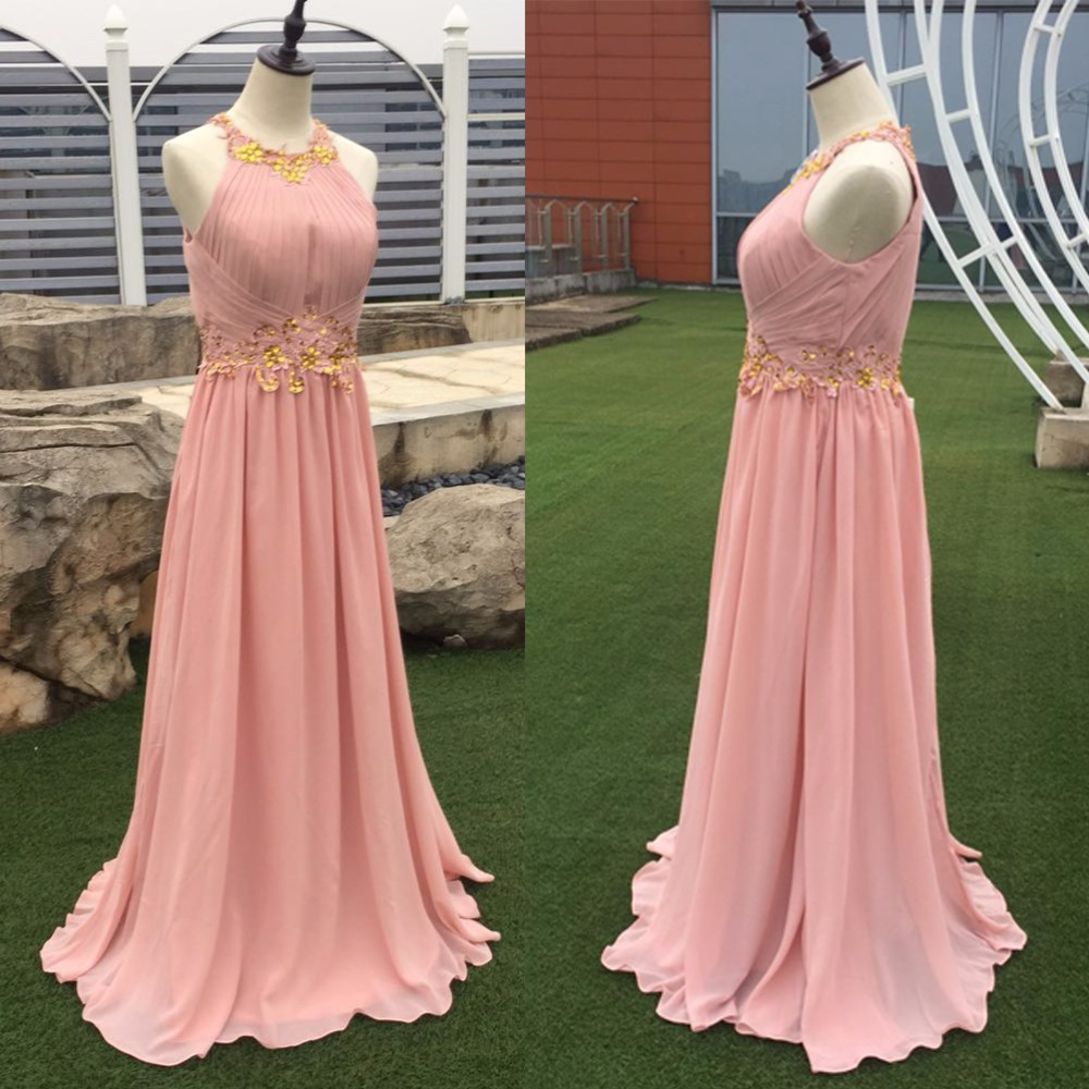 In Stock Long Peach Women Formal Occasion Wear Halter Chiffon A Line Evening Gown Cheap Vestidos