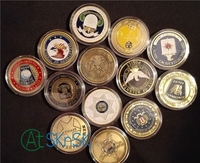 Novelty crafts colorful coins collectibles 13 models Saint Michael Unite states Insititutions FBI/DOJ/CIA challenge coins album