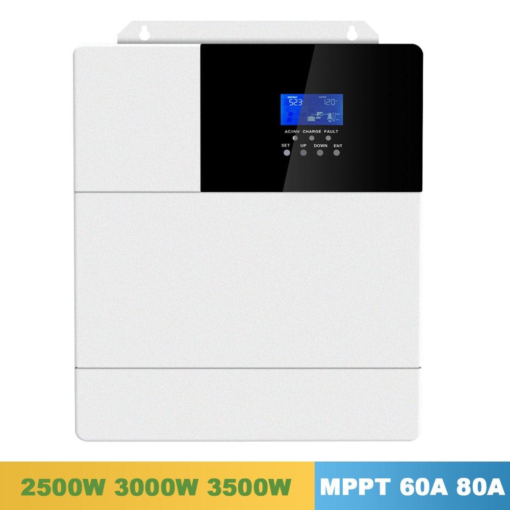 60A 80A All In One di Carica Solare Inverter 2500 W 3000 W 3500 W SPWW Puro Dell'onda di Seno MPPT 110 V 120 V 50Hz 60Hz Inversor Solare Ibrido