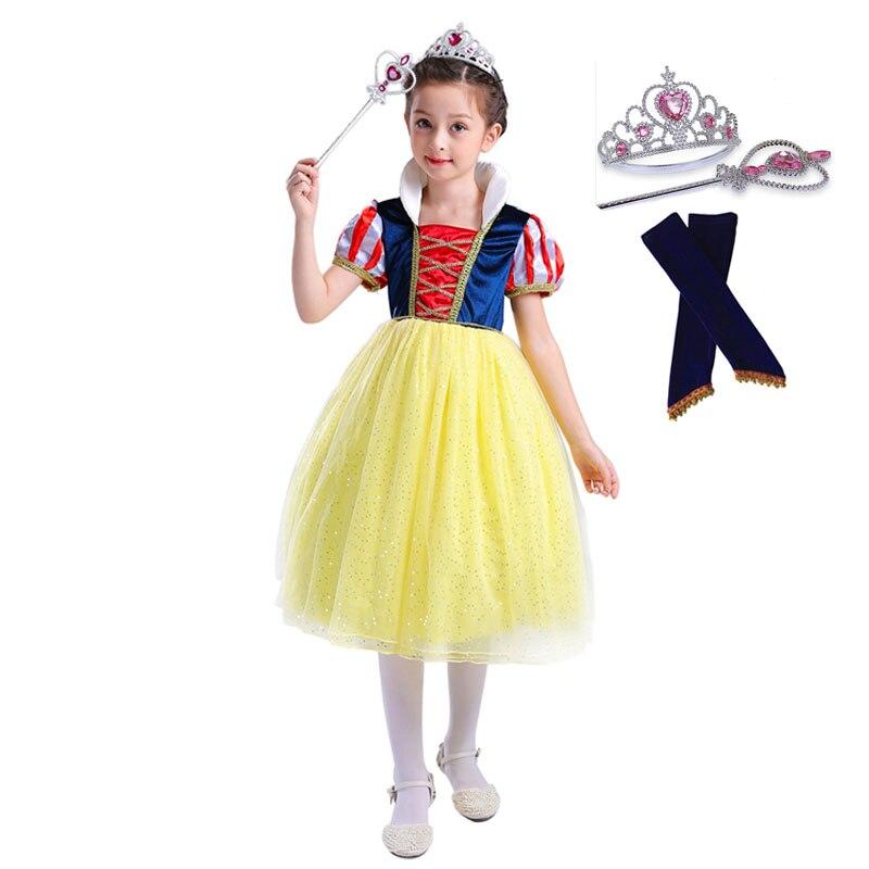 Filles robe blanche neige princesse robes costumes de noël nouvel an tissu pour filles enfants vêtements Tutu vêtements