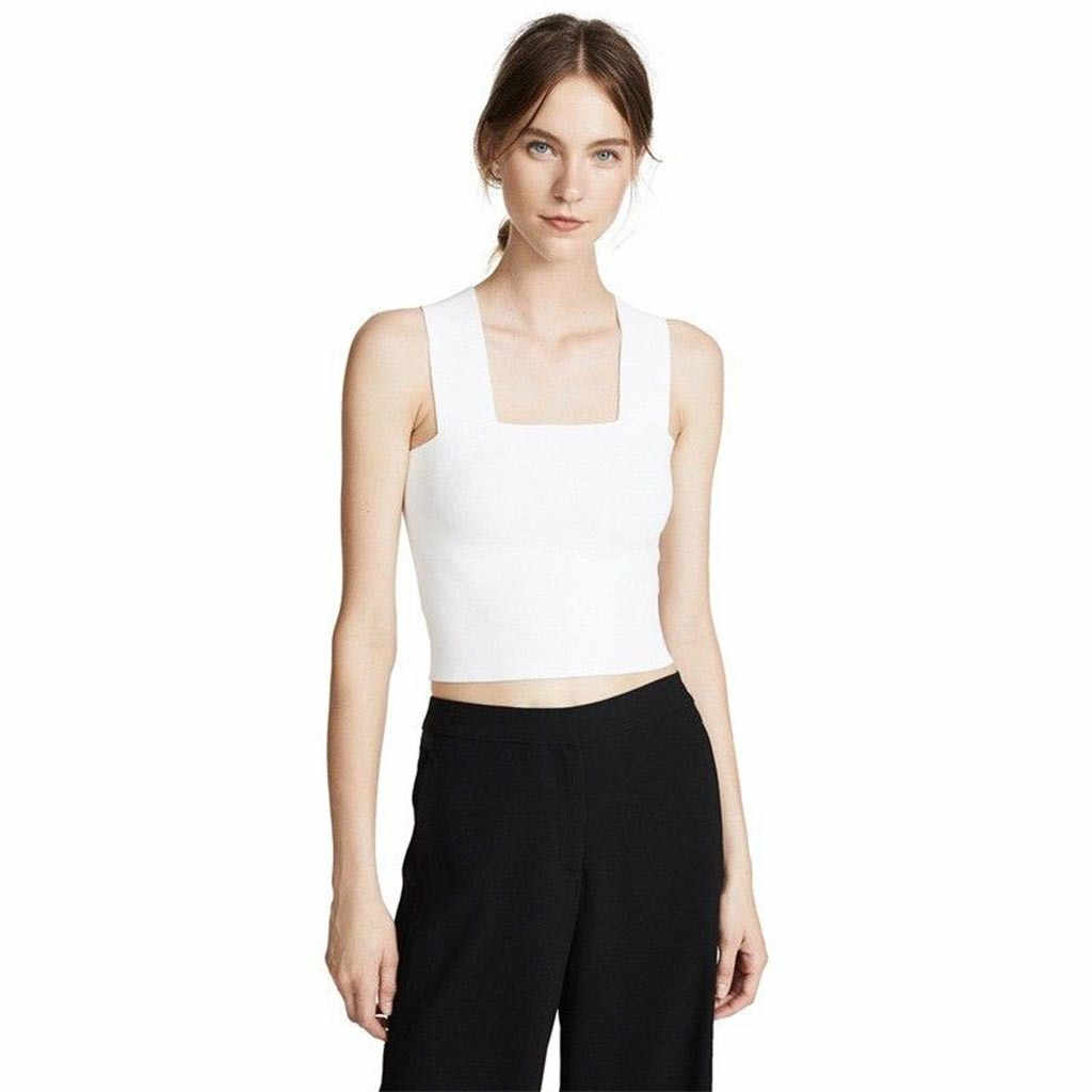 Womail Color sólido sin mangas Material de poliéster verano moda playa Simple gran oferta Casual Tank Tops mujer 19APR24