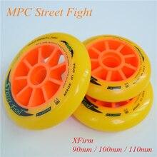 רחוב להילחם כתום 110mm 100mm 90mm Inline מהירות גלגיליות גלגל עבור MPC אספלט קרקע רחוב מירוץ מרתון תחרות Rodas