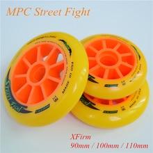 Street Fight สีส้ม 110 มม.100 มม.90 มม.อินไลน์สเก็ตความเร็วล้อสำหรับ MPC ยางมะตอย Ground Street Racing มาราธอนการแข่งขัน Rodas