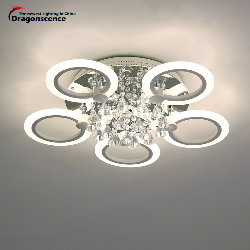 Dragonscence rings Ceiling crystal chandeliers LED circle modern chandelier lights for living room bedroom lamps indoor Lighting modern led crystal chandelier lights living room bedroom lamps cristal lustre chandeliers lighting pendant hanging wpl222
