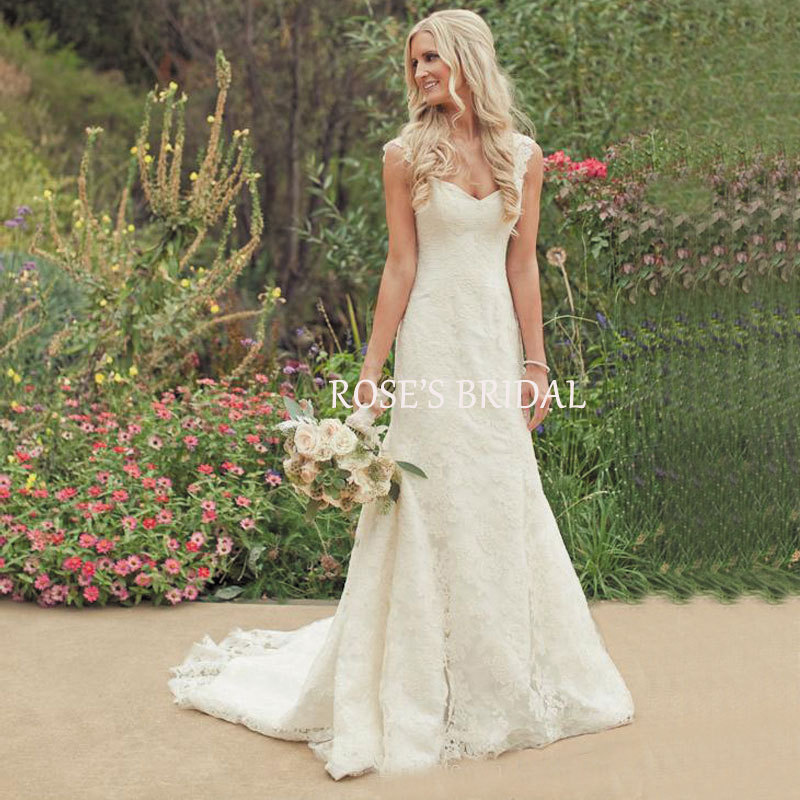 Country Western Eden Wedding Dresses Cap Sleeve Ivory Lace