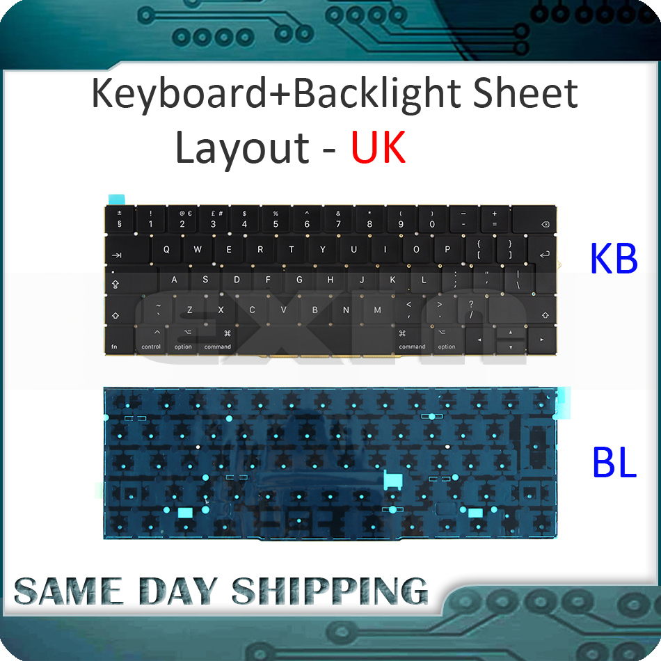 New Laptop A1706 Keyboard UK English EU EURO w/ Backlight for MacBook Pro 13.3 Retina 2016 2017 MLH12 MPXV2 EMC3071 EMC3163 image