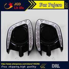 Free shipping ! 12V 6000k LED DRL Daytime running light for Mitsubishi Pajero Sport Fog lamp frame Fog light