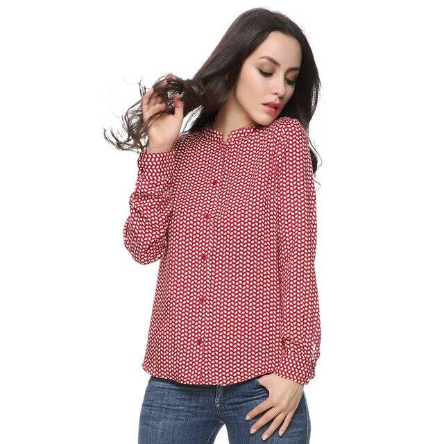 Женщины красные листья хлопок блузки старинные стенд воротник длинный рукав Blusas Femininas Европейский рабочая одежда рубашки повседневные топы ST2436
