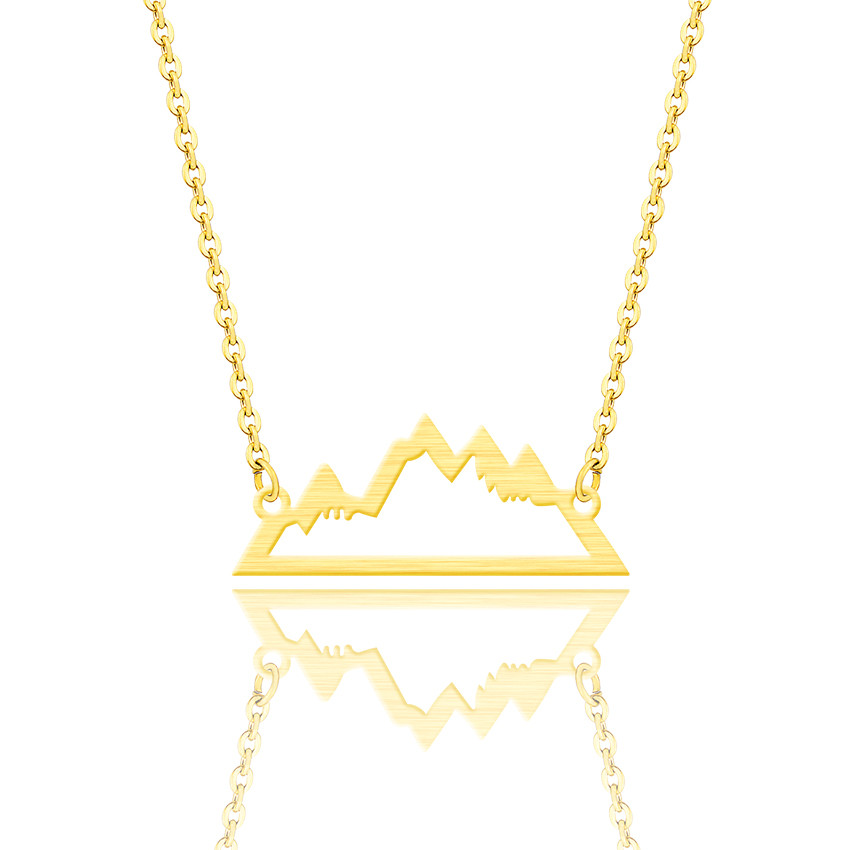 Minimalist Jewelry Gold Silver <font><b>Ketting</b></font> Snowy Mountain Necklace 2019 Stainless Steel Geometric Pendant Necklaces For Women <font><b>BFF</b></font> image