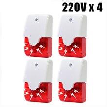 Indoor Verdrahtete Sirene Alarm System Home Security 115dB Strobe Blinkende Rote Licht 12V 24V 220V