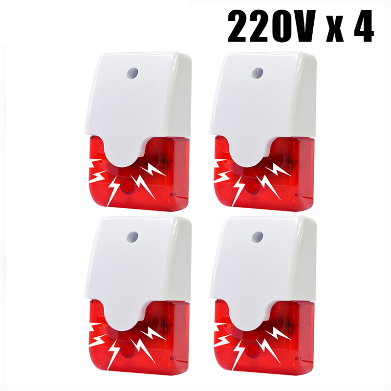 Indoor Wired Siren Alarm System Home Security 115dB Strobe Flashing Red Light 12V 24V 220V