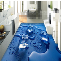 Customize Any Size Three Dimensional Home Decoration Painting Ice Cubes 3D Floor Tiles Papel De Parede