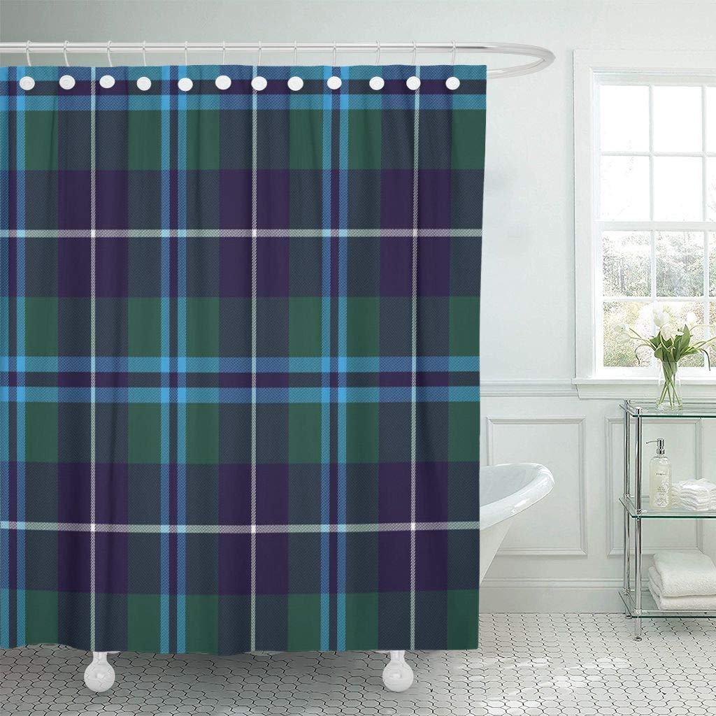 Us 17 06 36 Off Shower Curtain With Hooks Blue Celtic Douglas Tartan No Gradients Green Check Clan Culture Flat Geometric Gingham Bathroom In Shower