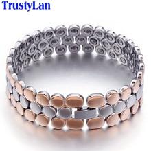 TrustyLan Luxury Korean Jewelry Rose Gold Color Health Care Germanite Stone Bracelets For Women 14MM Wide Titanium Bracelet Men