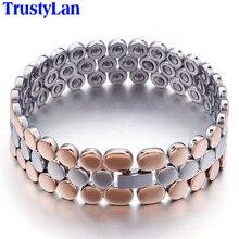 Trustylan Luxe Koreaanse Sieraden Rose Goud Kleur Gezondheidszorg Germanietgrijs Steen Armbanden Voor Vrouwen 14 Mm Brede Titanium Armband Mannen
