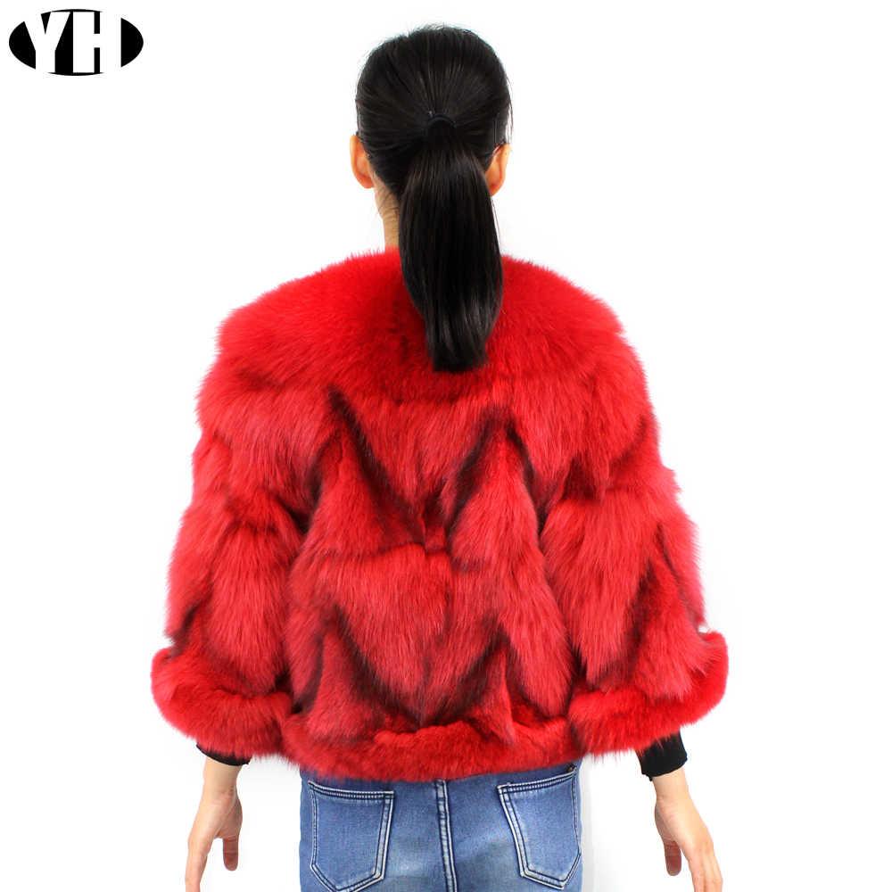 2019 Новая модная женская куртка из натурального Лисьего меха женская верхняя одежда из натурального Лисьего меха с коротким рукавом зимние теплые передние и задние пальто из лисьего меха